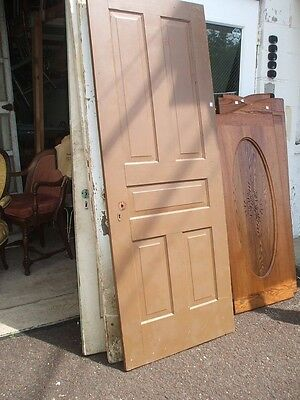 Five Panel Door Brown Painted Vintage Antique Architectural #a4