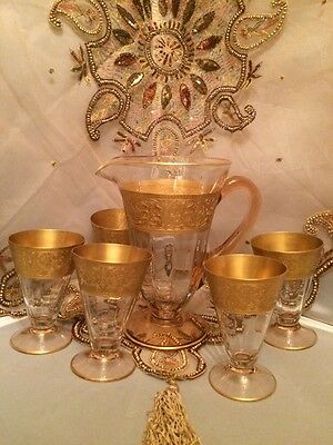 Rare! Antique Bohemian 24k Gold Enamel Moser Pink Glass Pitcher and 5 Tumblers