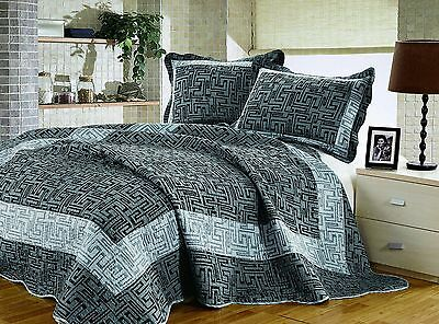 Artinen Carbon Gray Bedding 3 Piece Quilt Set Bedspread, Double/Full/Queen Cover