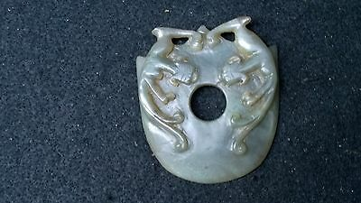 Group of Two Nephrite Jade Shield Design Bi With Dragons Green+White.