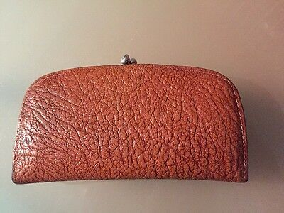 Vintage Real Leather Clasp Purse Cute Size Made In England