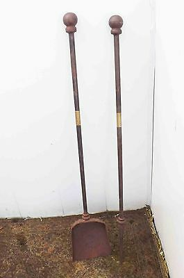 antique fire irons large Stately home items of importance.
