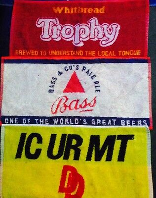 Cotton Bar Towels European Beers x 3. (Used)