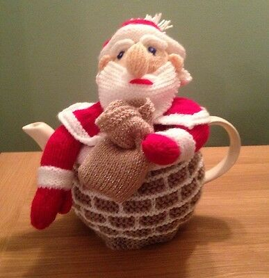Father Christmas In The Chimney Tea Cosy- Hand Knitted
