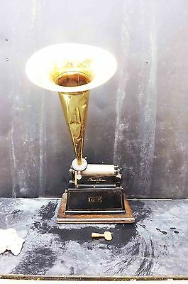 Eddison Table top Phonograph the Gem with large brass horn