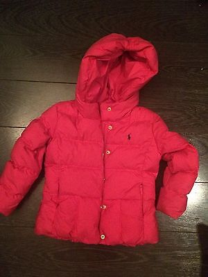 RALPH LAUREN POLO - Girls - PINK HOODED PUFFER JACKET - UK Size: 5 Years (Used)