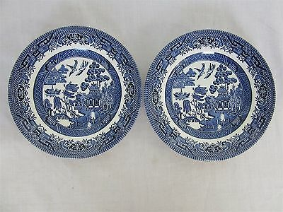Churchill Old English blue willow pattern - two side plates (Lot 1)