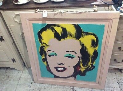 Andy Warhol Inspired Marilyn Monroe Oil On Wood 1M X 1M Painting Art Work