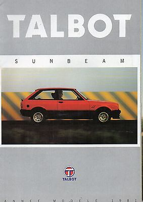 Brochure TALBOT SUNBEAM TI 1981- catalogue - prospectus