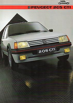 Brochure PEUGEOT 205 GTI 1984 Folder catalogue prospectus