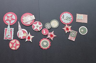 Christmas theme embellished die cuts-green, red and cream