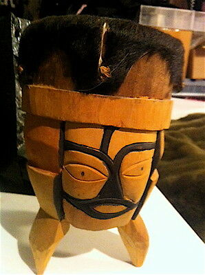 Vintage DRUM carved Tribal face 3 sides Intricate hand held unknown age GREAT