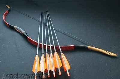 Traditional Horsebow Red Snakeskin Hunting Longbow With 6 Carbon Arrows 40lb