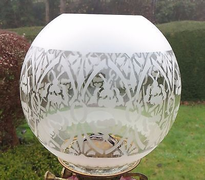 """Vintage/Antique Glass Oil Lamp Shade/Globe Unusual Etched Floral Pattern  4"""" fit"""