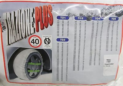 Trazione Plus Pair Of Snow Socks T03 For Wheels 205 x 55 x 16 and More see below
