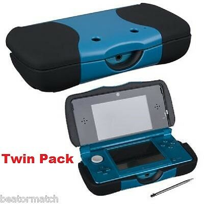 x2 Nintendo 3DS Power Case Rechargeable 1500mAh Extended Backup Battery Twin Pac