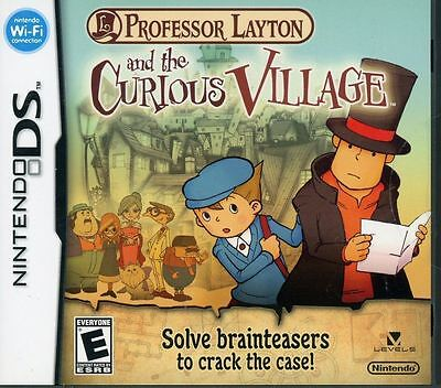 *BOX & MANUAL ONLY* PROFESSOR LAYTON AND THE CURIOUS VILLAGE NINTENDO DS / DSi