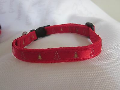 """Cat Christmas collar curved safety buckle Red Gold Tree Bell Ribbon 7"""" to 10"""""""