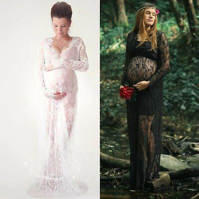 Maternity White Lace Dress Pregnant Photography Photo Props Fancy Women Clothes