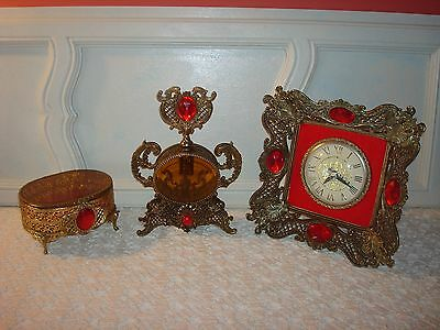 Vtg Gold Gilt Perfume Bottle 3 Piece Set~Stylebuilt~Jewelry Box~Clock~Red Gems!!