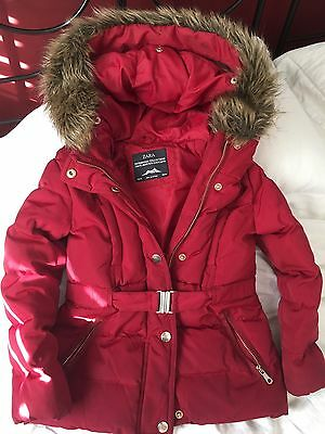 Zara Girls Dark Red / Burgundy Puffa Coat With Waisted Belt Age 6