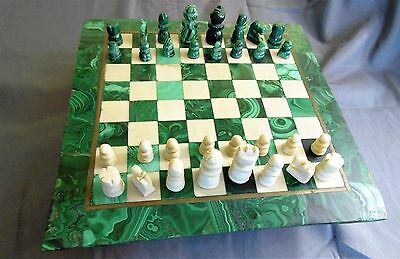 "Stunning Marble & Malachite Chess Set with Brass Inlay. Board 12"" Square."
