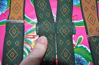 Vintage 3cm wide thin green gentleman's braces suspenders clip fastening
