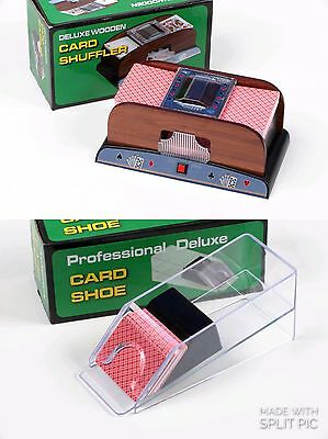 Casino Card SHUFFLER AND Card SHOE with cards and dice