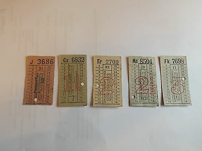 67 Year  Old London Transport Punched   Bus Tickets