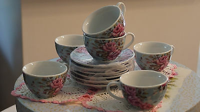 Porcelain 6/Tea Cups w/plates w/beautiful Floral Design for Children, NEW