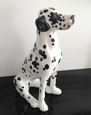 STUNNING PORCELAIN/ CERAMIC SITTING DALMATION DOG 10 Inches HIGH