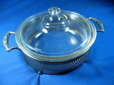 Antique Vintage Silver plate and pyrex glass serving dish casserole turren
