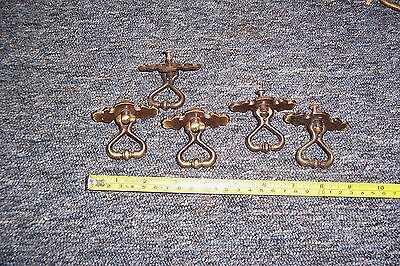 Vintage brass drawer pull handles x 5 all used see details