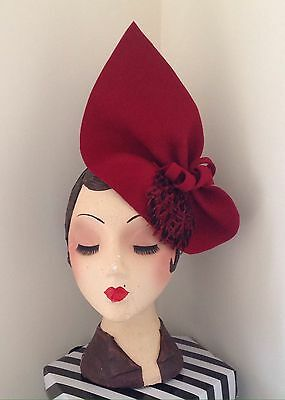 Vintage inspired, 1940s Style Claret Red Sculptured Felt feathered Hat