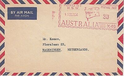 Flags Australia red meter 1964 on cover to the Netherlands
