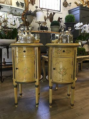Pair of Round French Style Vintage Bedside Tables Cabinets