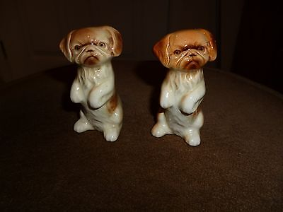 2 SMALL & CHARMING PORCELAIN DOG ORNAMENT/FIGURINES -  Chows?