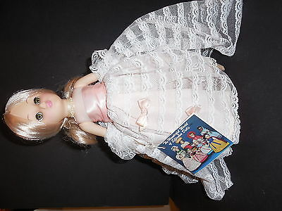 """Vintage Effanbee Cinderella Doll on Stand w/ Tag 11.5"""" No Shoes"""