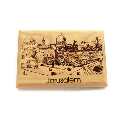 Uniqe Olive Wood Magnet with Old city Jerusalem Carved From The Holyland