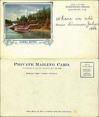 Larks Hotel Wisconsin Dells Kilbourn WI PRIVATE MAILING CARD UDB 1906