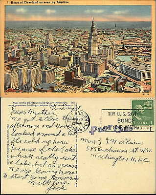 Cleveland Ohio OH aerial view Terminal Tower mailed 1946