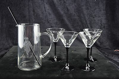 Vintage BEEFEATER GIN MARTINI SET ETCHED BACK STEM GLASSES AND PTICHER RARE