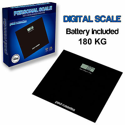 Digital Scale 180 kg Electronic Bathroom LCD Glass Weight Lose KG LBS ST Black