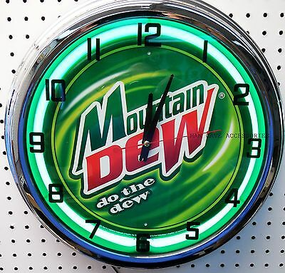 "17"" MOUNTAIN DEW Do The Dew Sign Neon Clock"