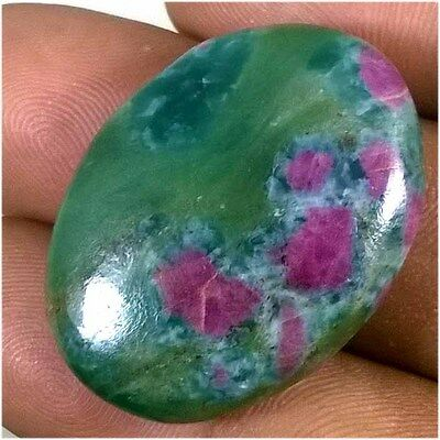 47.30 Cts. AMAZING ! 100% NATURAL RUBY IN FUCHSITE OVAL CABOCHON GEMSTONE RF-01