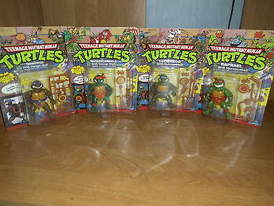 4 Storage Shell Turtles NEU NEW Unpunched MOC Raph Mike Leo Don TMNT Complete