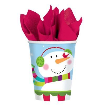 8 Christmas Cheer Happy Snowman Party Paper Cups 266ml