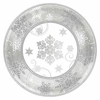 8 Christmas Party Winter Snowflakes Silver Metallic Paper Dinner Plates 17.7cm
