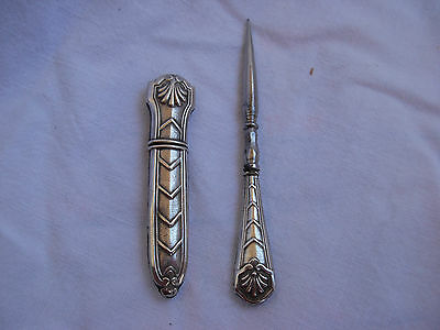 French Art Deco Solid Silver Neddle Case & Awl.