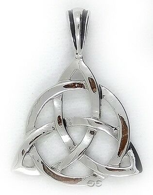 Celtic Irish Triquetra Trinity Knot Pendant Necklace Silver Braided Cord Large